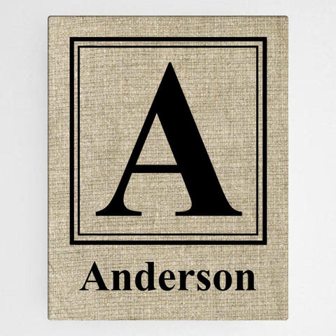 Personalized Family Initial Canvas Sign - Classic