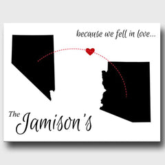 Personalized Signs - Because We Fell In Love - State Canvas Sign - White - Canvas Prints - AGiftPersonalized