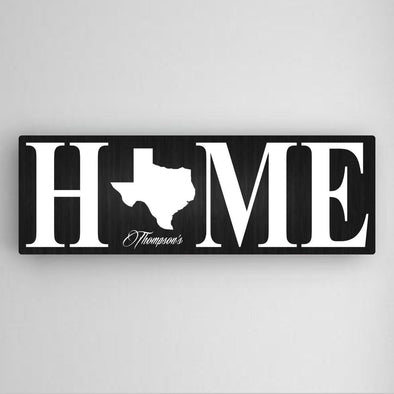 Personalized Home State Canvas Print - 5 Colors - Black - JDS