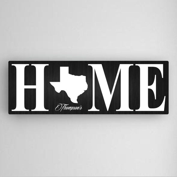 Personalized Home State Canvas Sign - Black - JDS