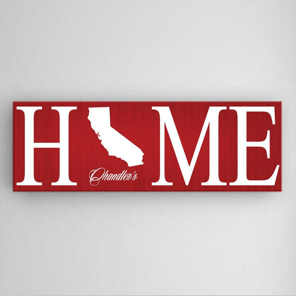 Personalized Home State Canvas Sign - Red - JDS