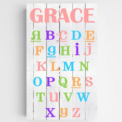 Personalized Colorful ABC Kids Canvas Sign -  - JDS