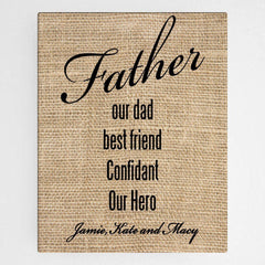 Personalized Our Dad Canvas Sign -