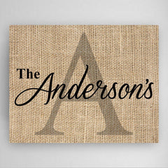 Personalized Family Name & Initial Canvas Sign