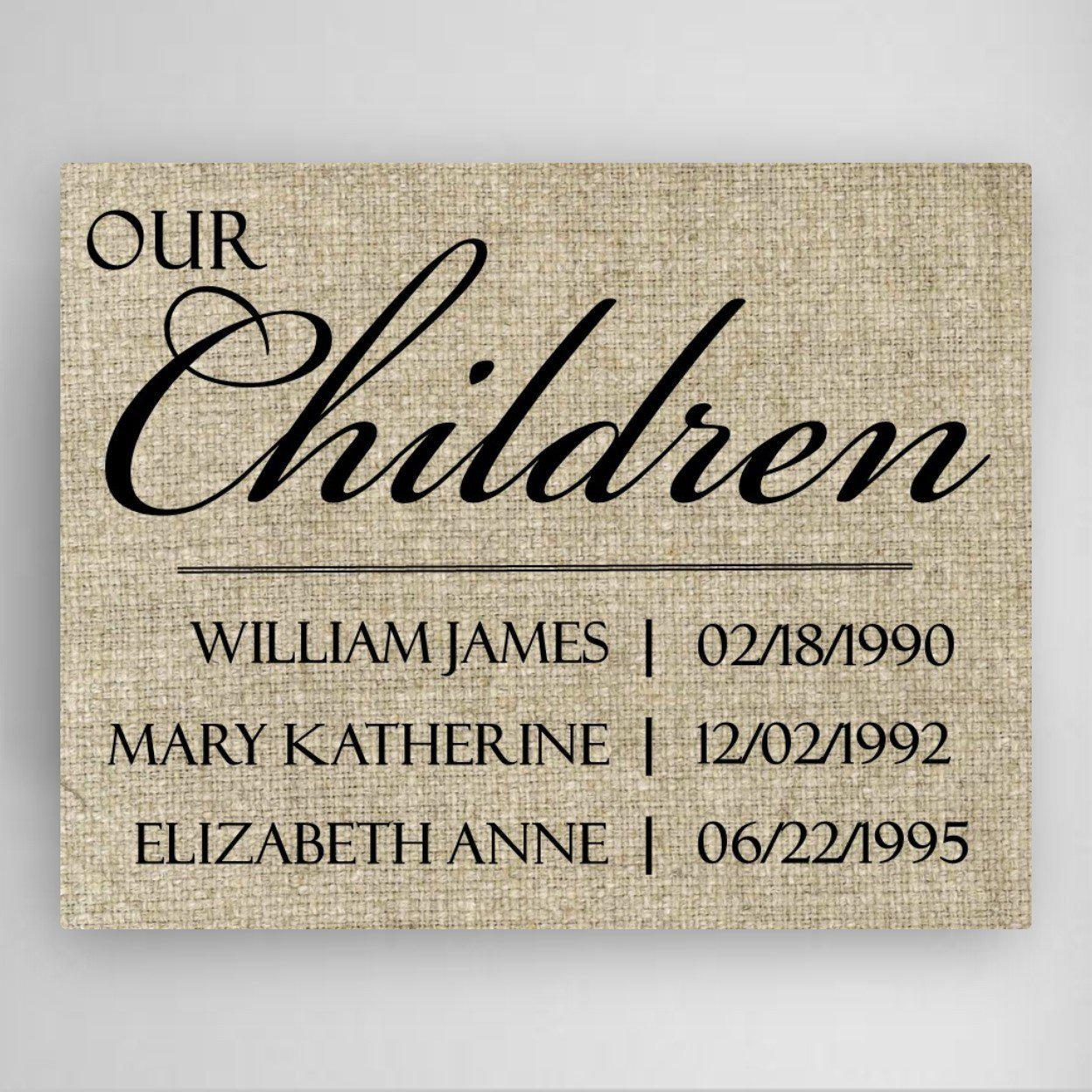 Personalized Our Children Canvas Sign
