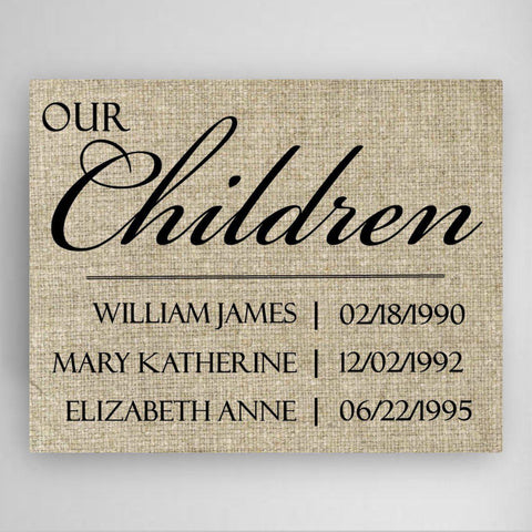 Personalized Our Children Canvas Sign -  - Canvas Prints - AGiftPersonalized