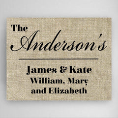 Personalized Our Family Canvas Sign -
