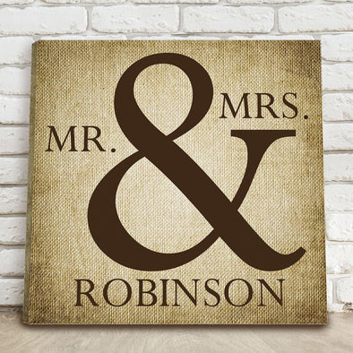 Personalized Mr & Mrs Canvas Print - 2 Colors - Burlap - JDS