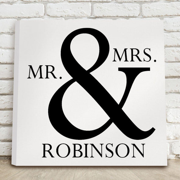 Personalized Mr & Mrs Canvas Print Sign - White - JDS