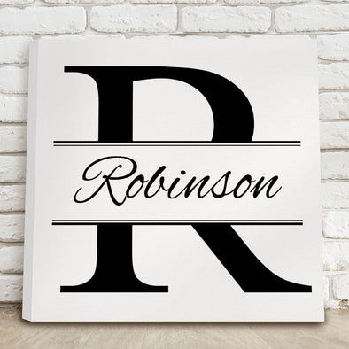 Personalized Stamped Monogram Canvas Print - 2 Colors - White - JDS