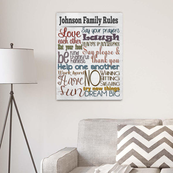 Rules of the House Personalized Canvas Print - White - JDS