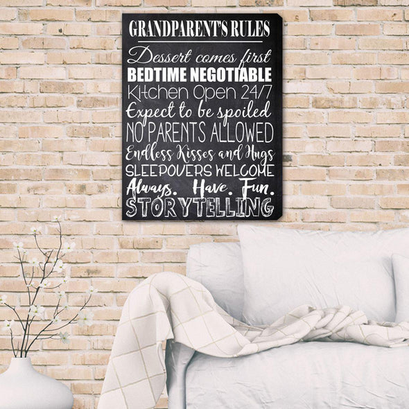 Grandparent's House Rules Personalized Canvas Print -  - JDS