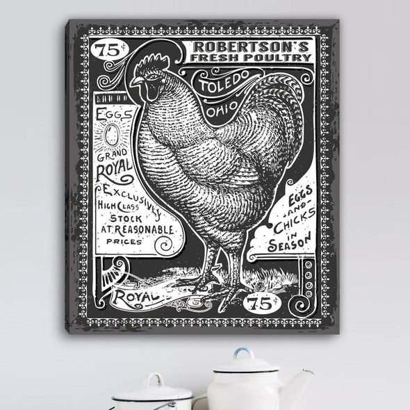 Personalized Vintage Rooster Canvas -  - JDS