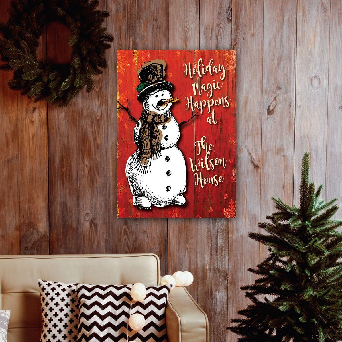 Personalized Vintage Snowman Canvas