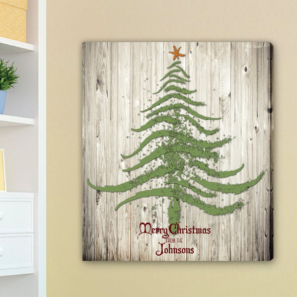 Personalized Vintage Christmas Tree Canvas Print -  - JDS