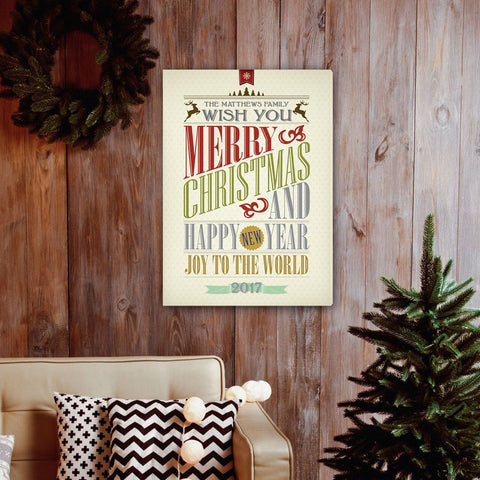 Personalized Vintage Christmas Words Canvas -