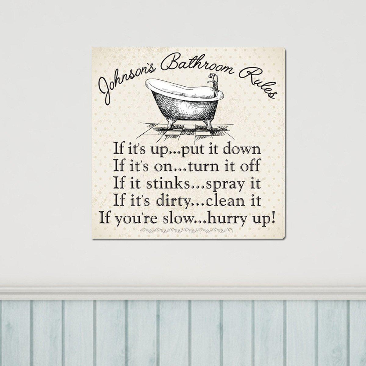 personalized bathroom rules canvas