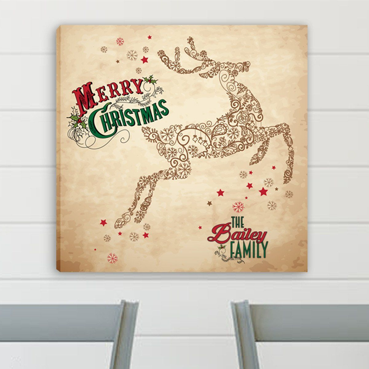 Personalized Vintage Reindeer Canvas