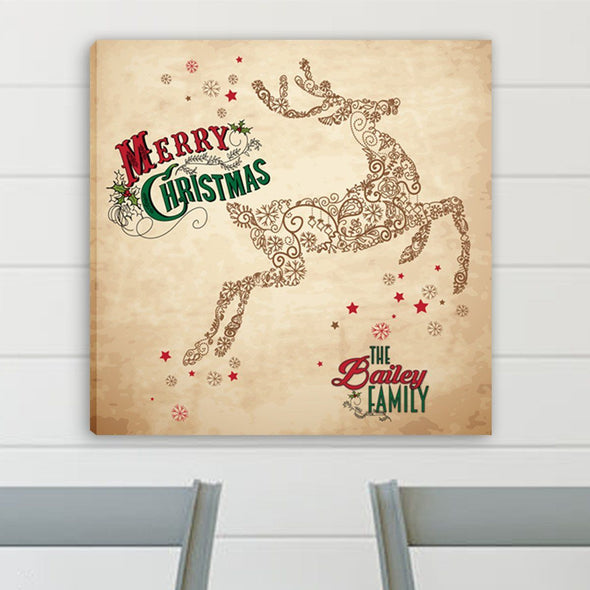 Personalized Vintage Reindeer Canvas Print -  - JDS