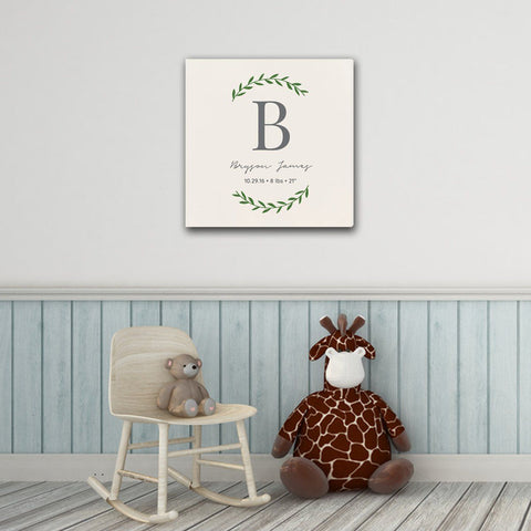 "Personalized Baby's Monogram Vine 18"" x 18"" Canvas - Cream"