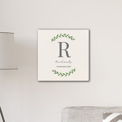 "Personalized Family Initial Vine 18"" x 18"" Canvas Sign - Cream - JDS"