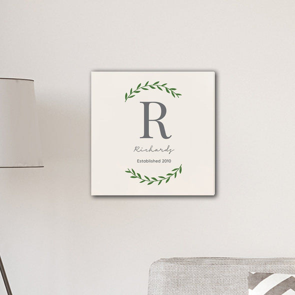 "Personalized Family Initial Vine 18"" x 18"" Canvas Signs - Cream - JDS"
