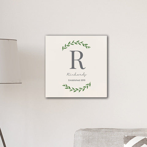 "Personalized Family Initial Vine 18"" x 18"" Canvas Signs - Cream"