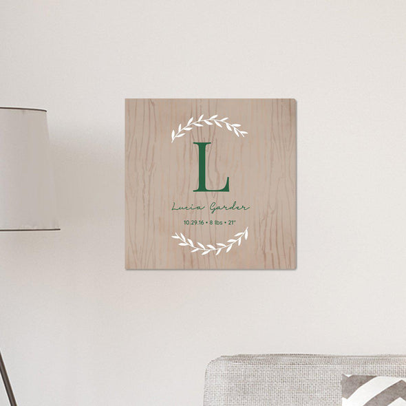 "Personalized Family Initial Vine 18"" x 18"" Canvas Signs - LightBrown - JDS"