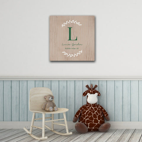 "Personalized Baby's Monogram Vine 18"" x 18"" Canvas - LightBrown - Home Decor - AGiftPersonalized"