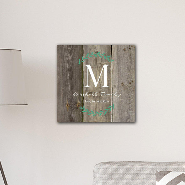 "Personalized Family Initial Vine 18"" x 18"" Canvas Signs - Wood - JDS"