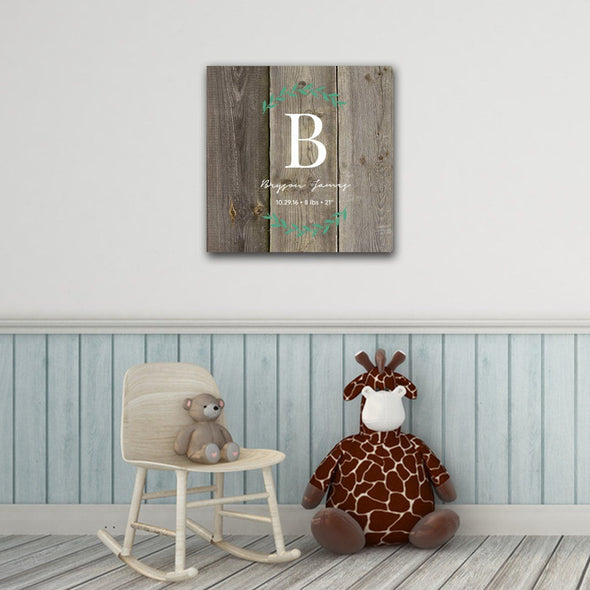 "Personalized Baby Monogram Vine 18"" x 18"" Canvas - LightBrown - JDS"