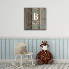 "Personalized Baby's Monogram Vine 18"" x 18"" Canvas - Wood - Home Decor - AGiftPersonalized"