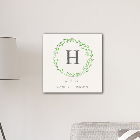 "Personalized Family Initial Wreath & Vine 18"" x 18"" Canvas Signs - Green - Home Decor - AGiftPersonalized"