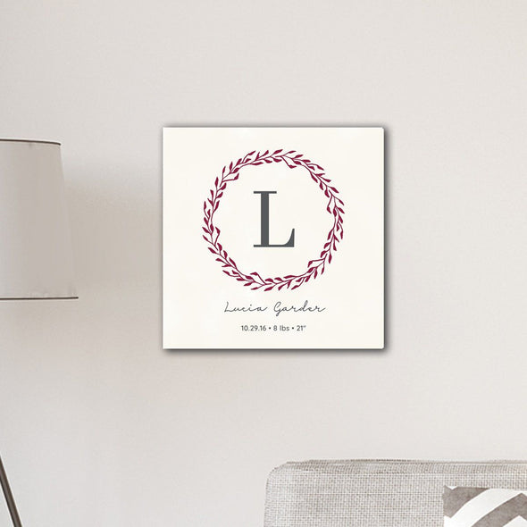 "Personalized Family Initial Wreath & Vine 18""x18"" Canvas Sign - Magenta - JDS"