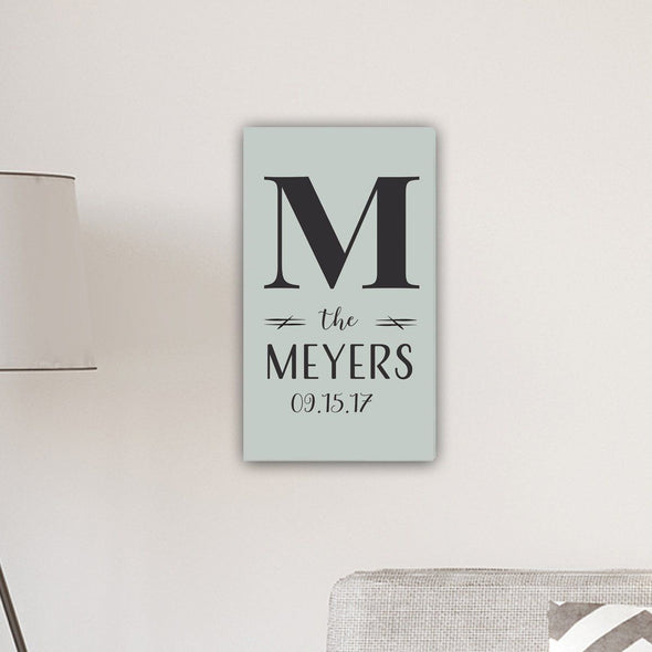 "Personalized Monogram Farmhouse 14"" x 24"" Canvas Sign - SoftGreen"