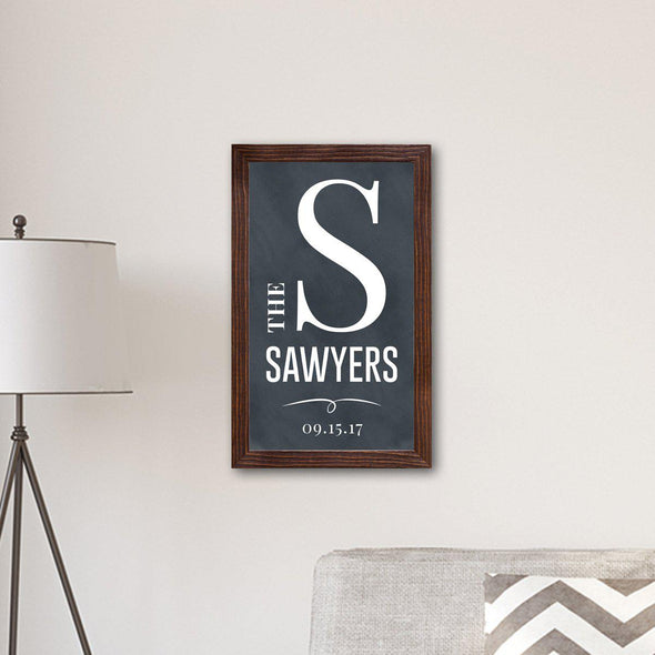 Personalized Framed Family Name & Initial Farmhouse Canvas Print - Chalkboard - JDS