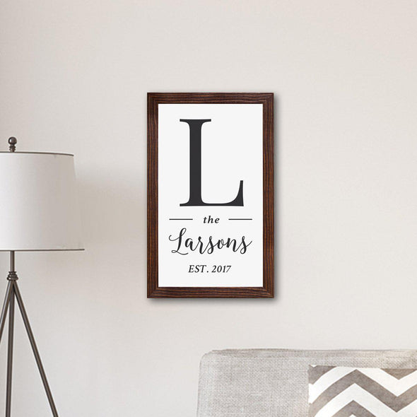 Personalized Framed Family Name & Initial Farmhouse Canvas Print -  - JDS