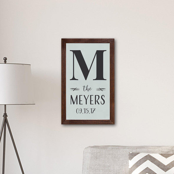 Personalized Framed Family Name & Initial Farmhouse Canvas Print - Weather Grey - JDS