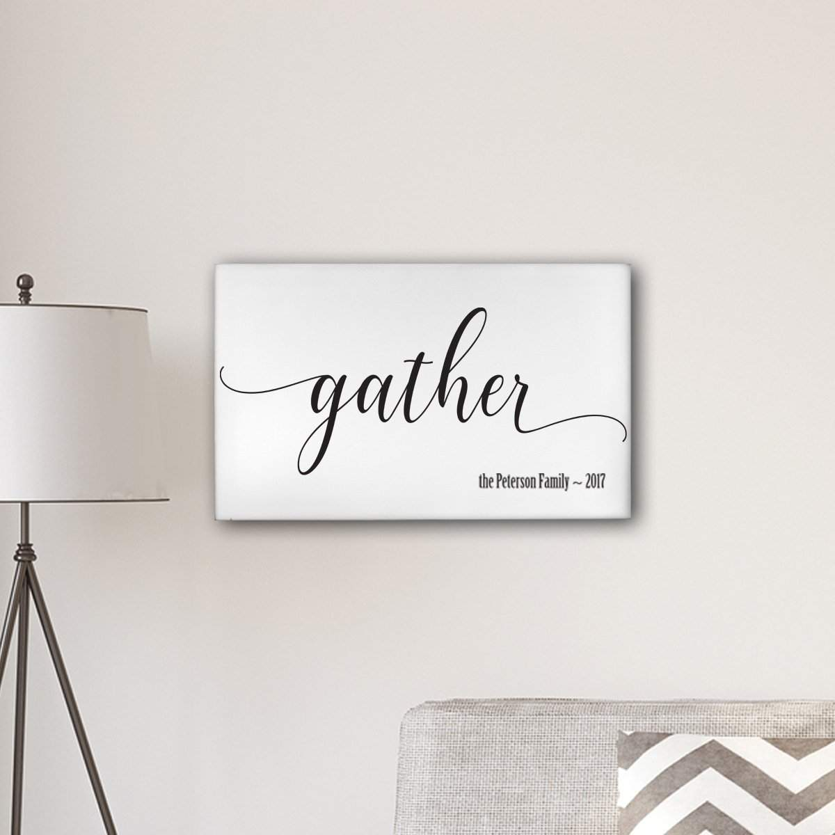 """Personalized Gather Modern Farmhouse 14"""" x 24"""" Canvas Sign"""