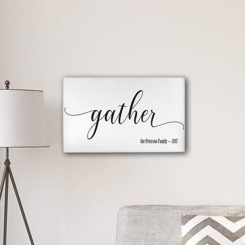 "Personalized Gather Modern Farmhouse 14"" x 24"" Canvas Sign - Default Title - Canvas Prints - AGiftPersonalized"