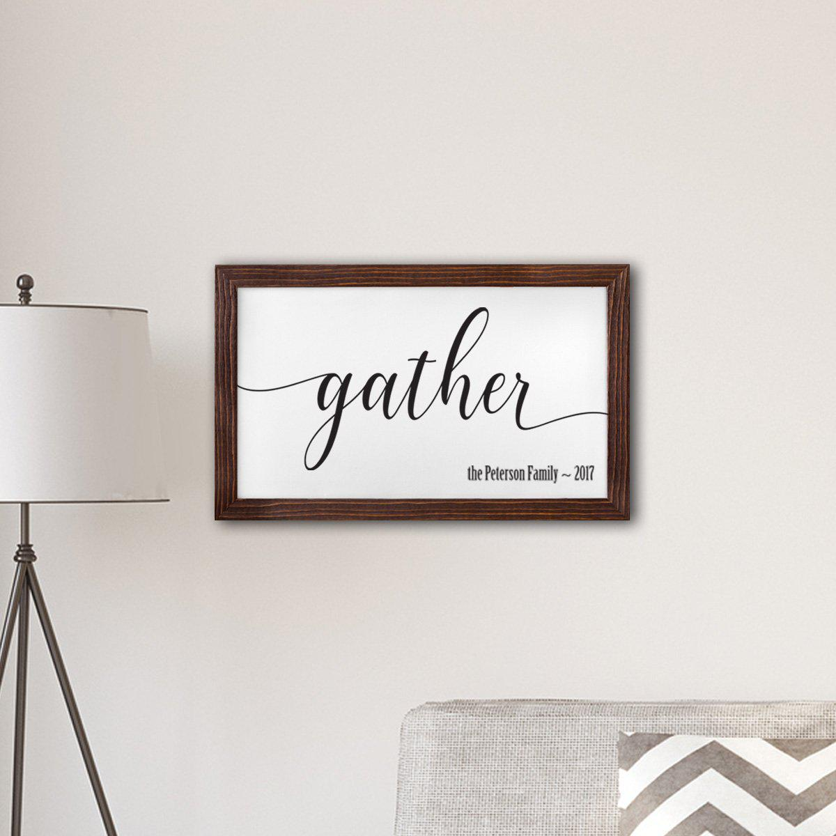 "Personalized Framed Gather Modern Farmhouse 14"" x 24"" Canvas Sign"
