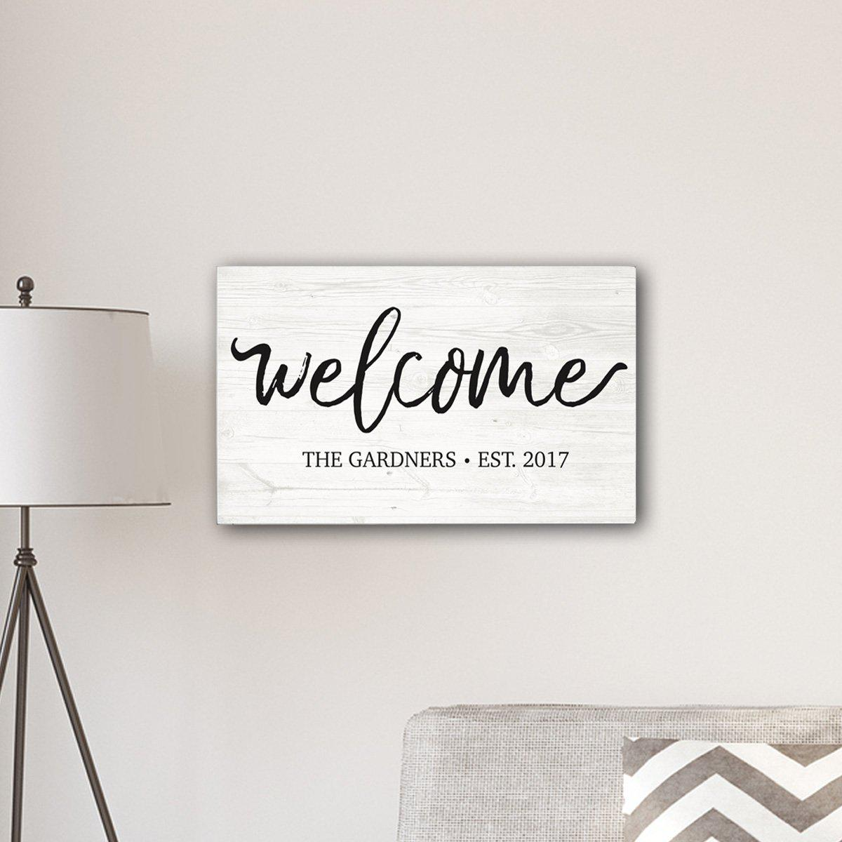 "Personalized Welcome Modern Farmhouse 14"" x 24"" Canvas Sign"