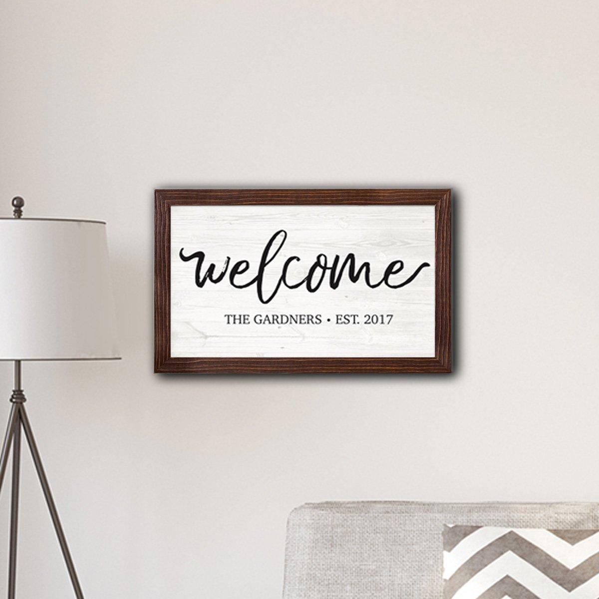 "Personalized Framed Welcome Modern Farmhouse 14"" x 24"" Canvas Sign"