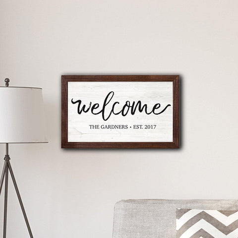 "Personalized Framed Welcome Modern Farmhouse 14"" x 24"" Canvas Sign -"