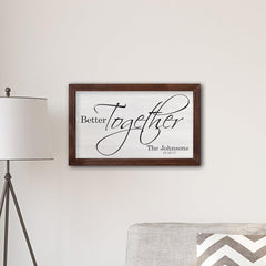 "Personalized Framed Better Together Modern Farmhouse 14"" x 24"" Canvas Sign at AGiftPersonalized"