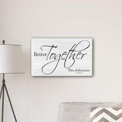 "Personalized Better Together Modern Farmhouse 14"" x 24"" Canvas Sign -  - Canvas Prints - AGiftPersonalized"
