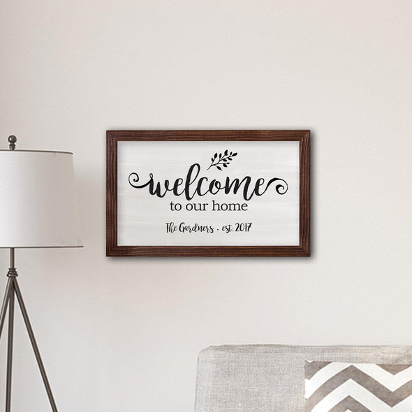 "Personalized Framed Welcome To our Home Modern Farmhouse 14"" x 24"" Canvas -  - JDS"