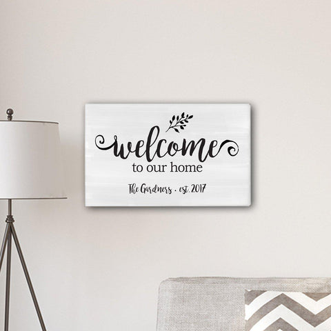 "Personalized Welcome To our Home Modern Farmhouse 14"" x 24"" Canvas - Default Title - Canvas Prints - AGiftPersonalized"