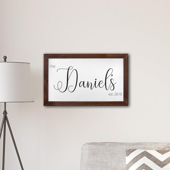 "Personalized Framed Last Name Modern Farmhouse 14"" x 24"" Canvas -  - JDS"