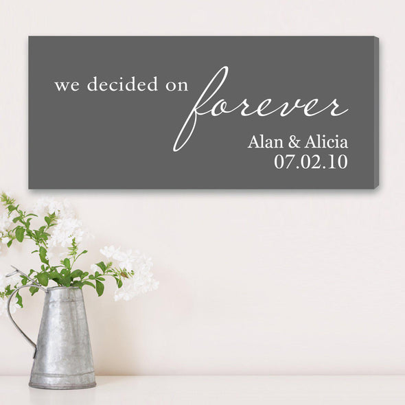 Personalized We Decided on Forever Wedding Canvas Print - Gray - JDS